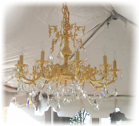Gold Chandelier with crystals for rent