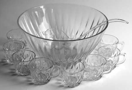 Glass Punch Bowl Set with 8 glass cups