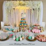 Silk Flower Valance with White Sher drapes for Cake and Dessert Table Backdrop